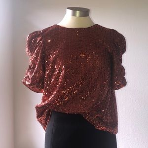 Marie Sequined Blouse COPPER Anthro US 4